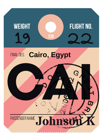 Cairo airport luggage tag. Realistic looking tag with stamp and information written by hand. Design element for creative professionals. Banque d'images - 95971124