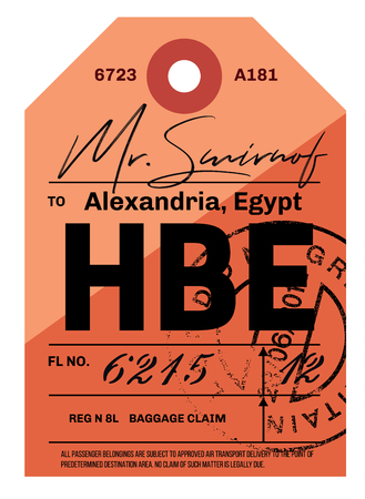 Alexandria airport luggage tag. Realistic looking tag with stamp and information written by hand. Design element for creative professionals. Illustration