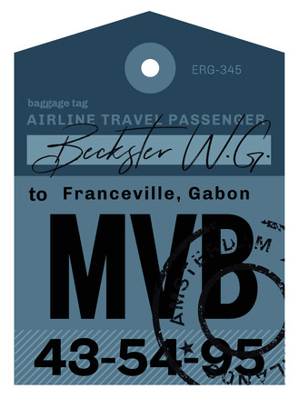 Franceville airport luggage tag. Realistic looking tag with stamp and information written by hand. Design element for creative professionals. Banque d'images - 95913900
