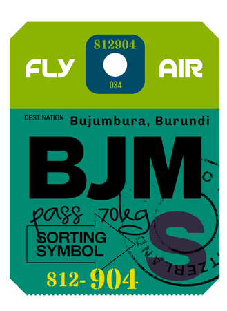 Bujumbura airport luggage tag. Realistic looking tag with stamp and information written by hand. Design element for creative professionals. Illustration