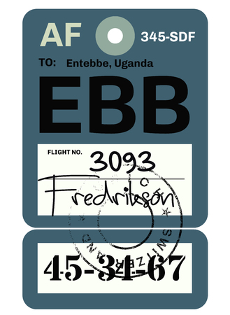 Entebbe airport luggage tag. Realistic looking tag with stamp and information written by hand. Design element for creative professionals. Vettoriali
