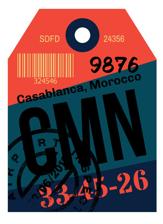 Casablanca airport luggage tag. Realistic looking tag with stamp and information written by hand. Design element for creative professionals.