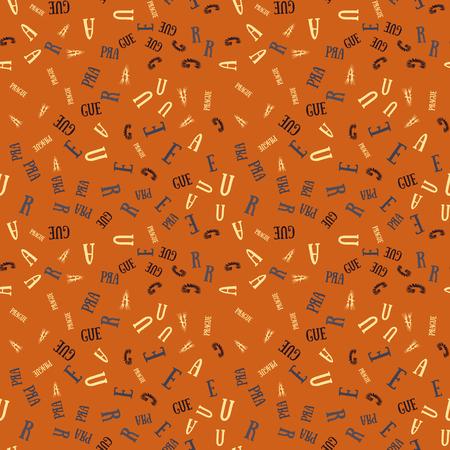 Prague  creative pattern. Digital design for print, fabric, fashion or presentation.