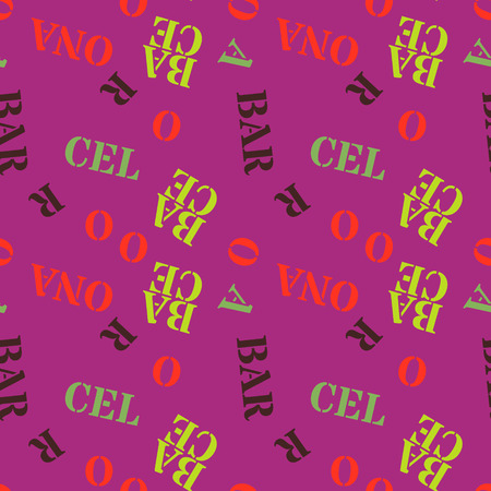 Word Barcelona arranged in creative pattern. Digital design for print, fabric, fashion or presentation. Vectores