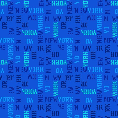 New York  in text seamless pattern. Creative design for various ideas with blue background. Illustration