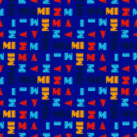 Miami  seamless pattern. Creative design for various backgrounds. Illustration