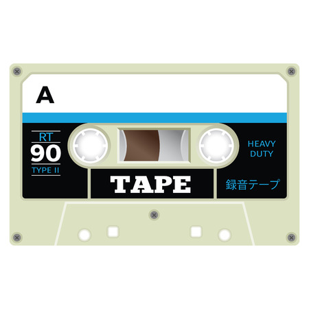 Old fashion cassette tape design, retro technology illustration.