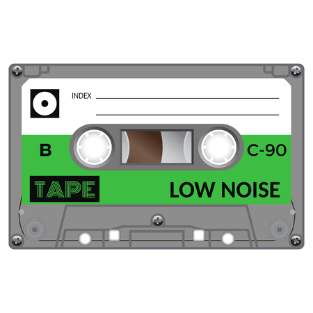 Vintage audio cassette tape design, flat illustration. Vectores