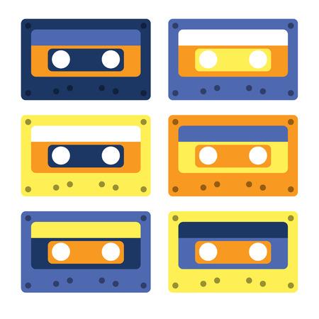 Retro cassettes simple design set, flat illustration.