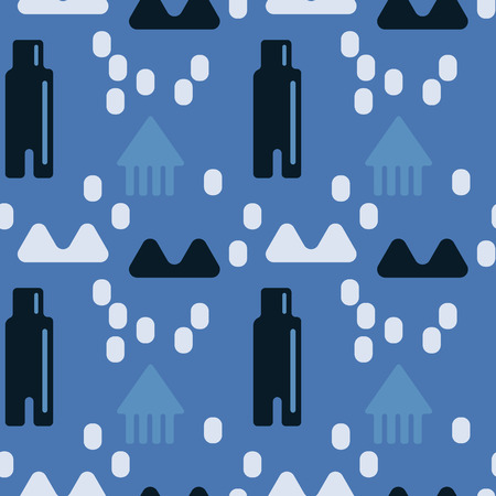 Nordic landscape seamless pattern. Suitable for screen, print and other media.  イラスト・ベクター素材