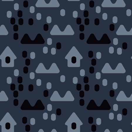 Nordic village seamless pattern. Suitable for screen, print and other media. Illustration