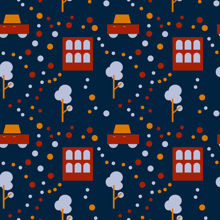 Neighborhood life seamless pattern. Suitable for screen, print and other media. Illustration