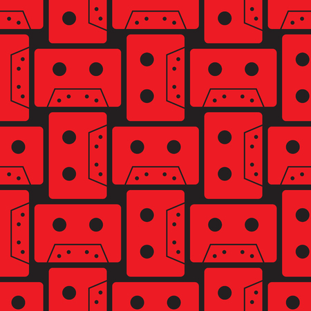 Cassette colour seamless pattern. Authentic design for digital and print media. Vettoriali
