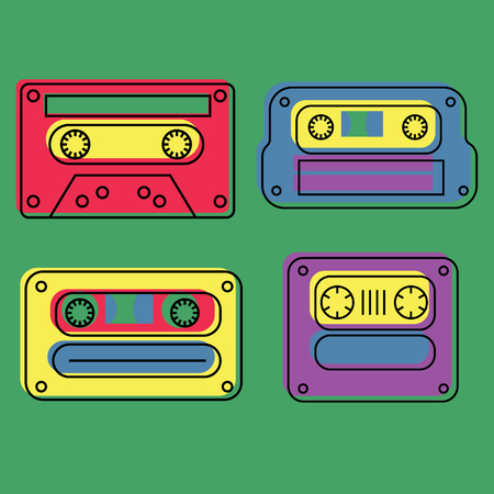 Retro feel audio cassettes set, authentic design. Çizim
