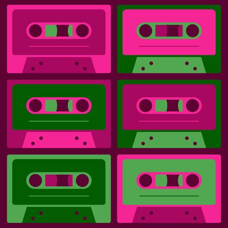 Cool vintage audio cassettes, retro technology set. Imagens - 96856919