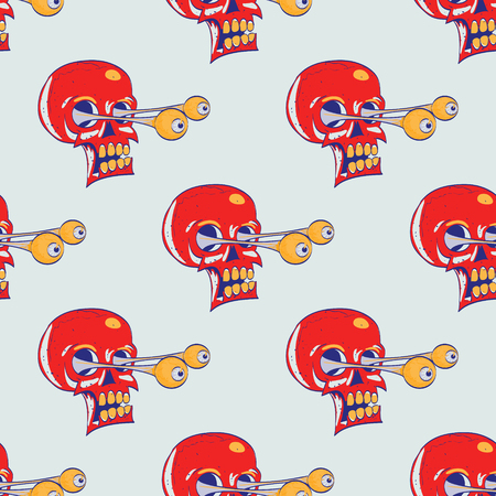 Skulls seamless pattern. Cartoon style pattern design.  イラスト・ベクター素材