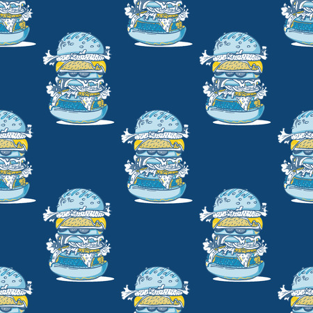 Burger huge seamless pattern. Cartoon style pattern design.  イラスト・ベクター素材