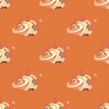 UFO seamless pattern. Cartoon style pattern design.