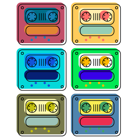 Vintage cassette colour tapes illustration, isolated on white set. Ilustração