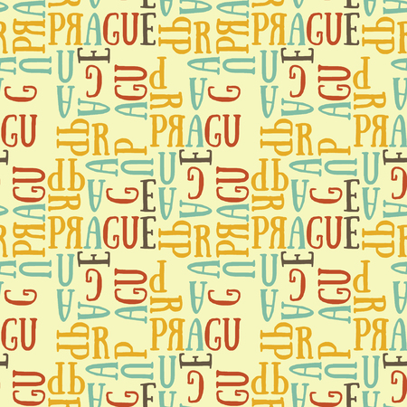 Prague seamless pattern. Authentic artistic design for background.