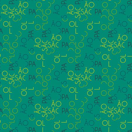 S o Paulo  seamless pattern. Autentic artistic design for background. Ilustração