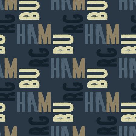 Hamburg seamless pattern. Autentic artistic design for background.  イラスト・ベクター素材