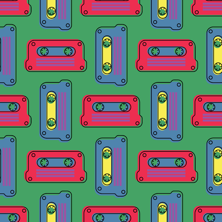 Cassette tape grid seamless pattern. Authentic design for digital and print media.