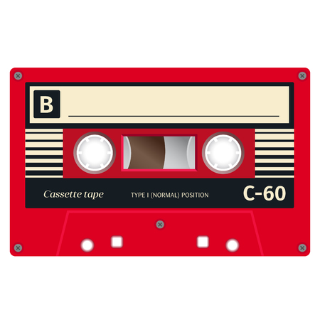 Plastic audio cassette tape. Realistic illustration Isolated on white. Vettoriali