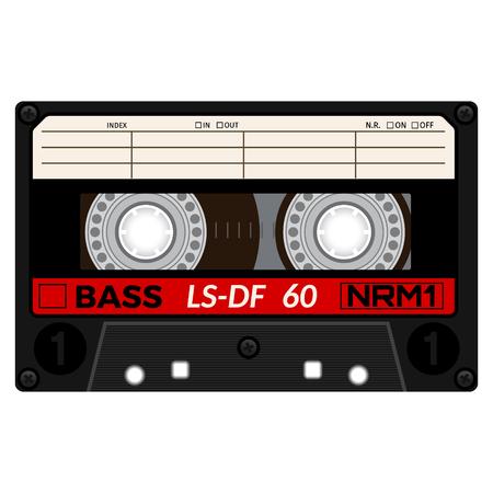 Plastic audio cassette tape. Realistic illustration Isolated on white. 일러스트