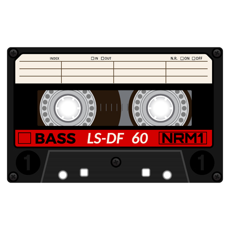 Plastic audio cassette tape. Realistic illustration Isolated on white. Illustration