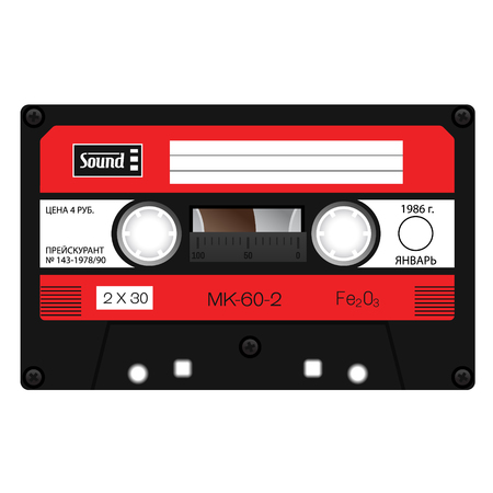 Old school compact cassette tape, eightees design. Banco de Imagens - 97312936