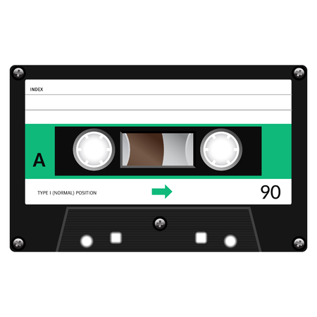 Vintage audio cassette tape design, flat illustration. Illustration