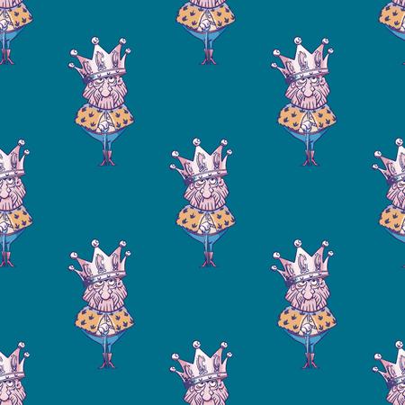 King wearing huge crown seamless pattern. Cartoon style pattern design.