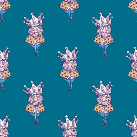 King wearing huge crown seamless pattern. Cartoon style pattern design.