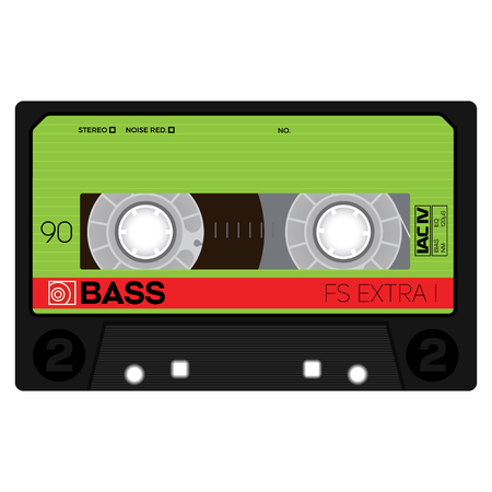 Vintage audio cassette tape, realistically looking design. colored vector illustration. Illustration