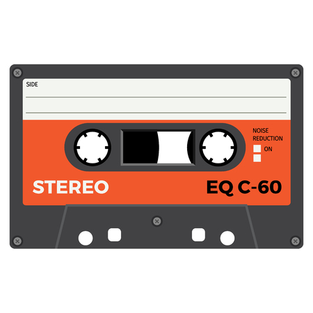 Retro audio cassette, realistic illustration isolated on white. colored vector illustration.