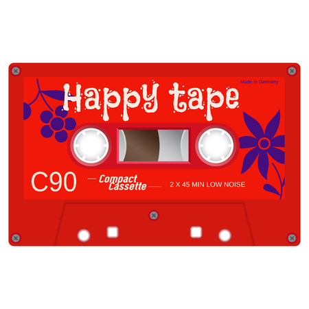 Vintage technology audio cassette tape isolated on white background. colored vector illustration.