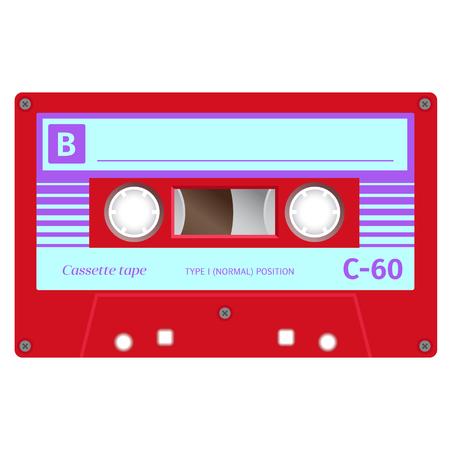 Vintage cassette illustration, simple flat design on white background. colored vector illustration.