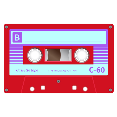 Vintage cassette illustration, simple flat design on white background. colored vector illustration.