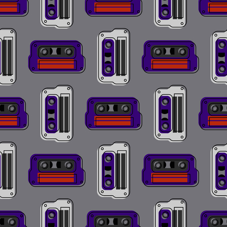 Retro cassette regular seamless pattern. Authentic design for digital and print media. colored vector illustration. Иллюстрация