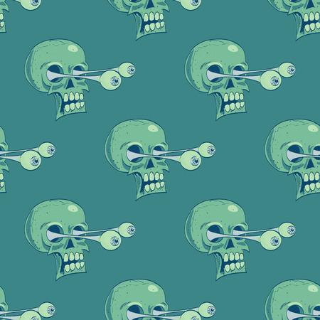 Skulls seamless pattern. Cartoon style pattern design. 矢量图像