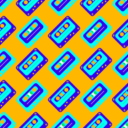 Cassette tapes diagonal seamless pattern. Authentic design for digital and print media.  イラスト・ベクター素材