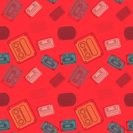 Cassette tapes floating seamless pattern. Authentic design for digital and print media. Ilustração