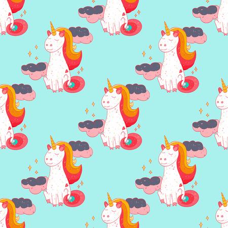 Fairytale unicorn seamless pattern. Cartoon style pattern design.
