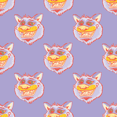 Funky wolf smiling seamless pattern. Cartoon style pattern design.