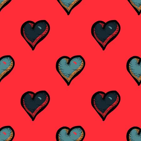 Hearts seamless pattern. Original design for print or digital media. Vector illustration.