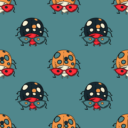 Ladybug funky seamless pattern. Original design for print or digital media. Vector illustration. Иллюстрация
