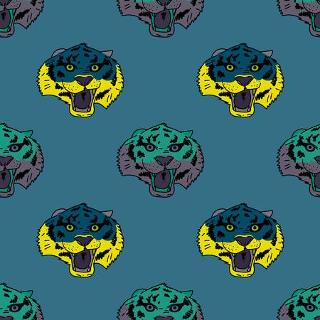 Funky tiger face seamless pattern. Original design for print or digital media. Vector illustration.