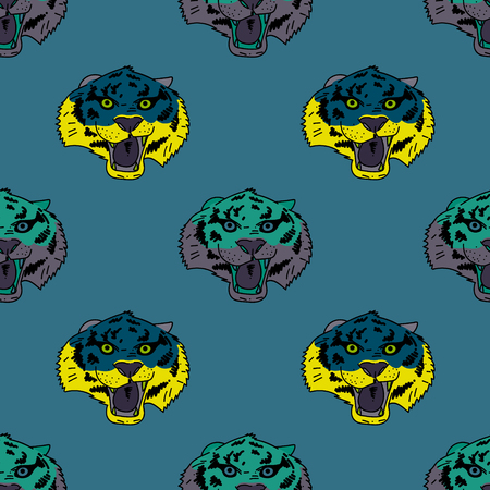 Funky tiger face seamless pattern. Original design for print or digital media. Vector illustration.
