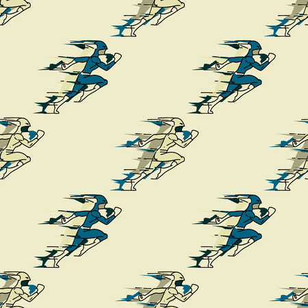 Rushing superhero seamless pattern. Original design for print or digital media. Vector illustration.